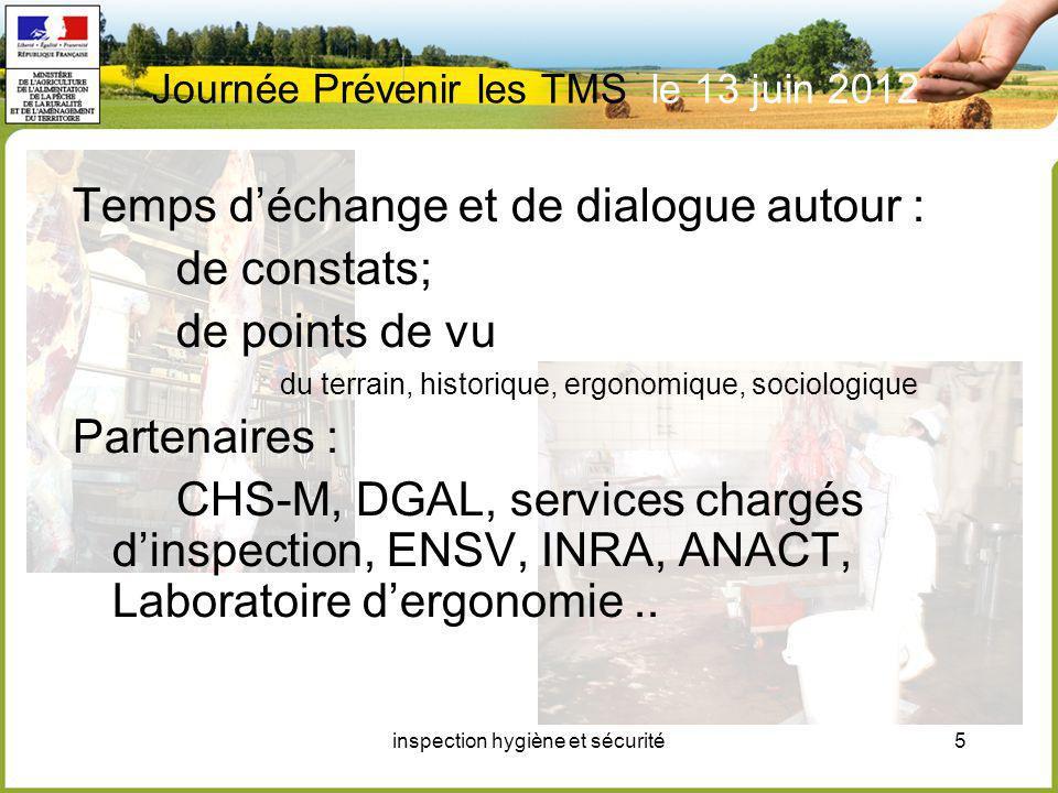 inspection hygiène et sécurité5 Journée Prévenir les TMS le 13 juin 2012 Temps déchange et de dialogue autour : de constats; de points de vu du terrai