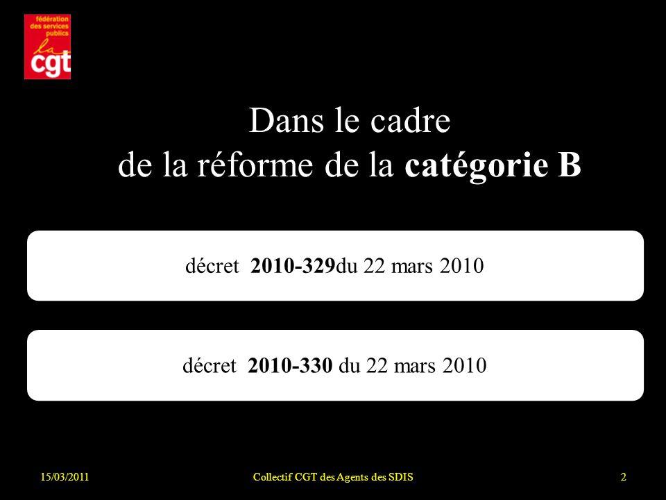15/03/2011Collectif CGT des Agents des SDIS2 décret 2010-330 du 22 mars 2010 Dans le cadre de la réforme de la catégorie B décret 2010-329du 22 mars 2