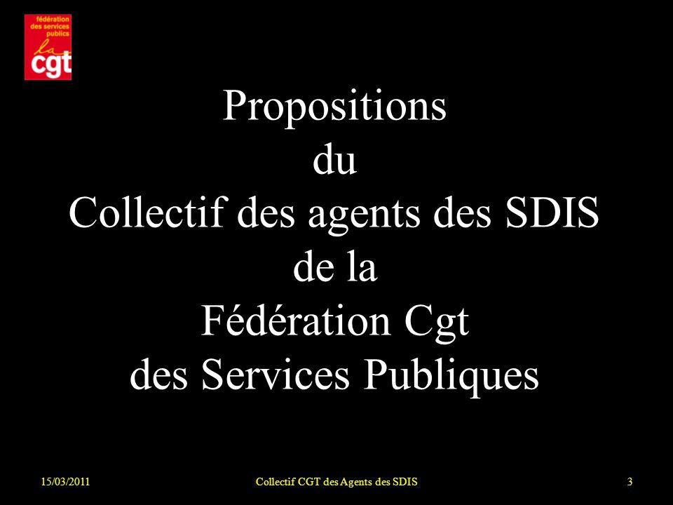 15/03/2011Collectif CGT des Agents des SDIS34 La Mesures Pérennes