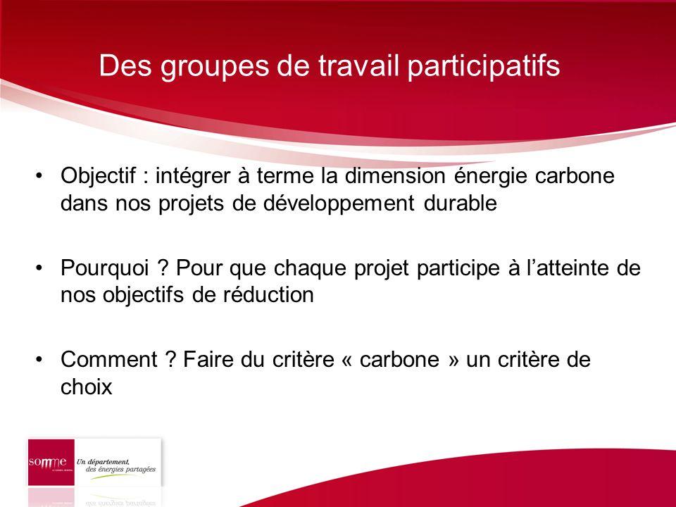 Des groupes de travail participatifs Objectif : intégrer à terme la dimension énergie carbone dans nos projets de développement durable Pourquoi ? Pou