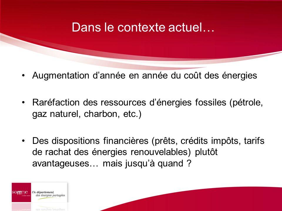 Dans le contexte actuel… Augmentation dannée en année du coût des énergies Raréfaction des ressources dénergies fossiles (pétrole, gaz naturel, charbo