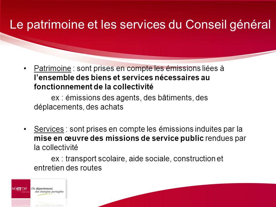 Le patrimoine et les services du Conseil général Patrimoine : sont prises en compte les émissions liées à lensemble des biens et services nécessaires