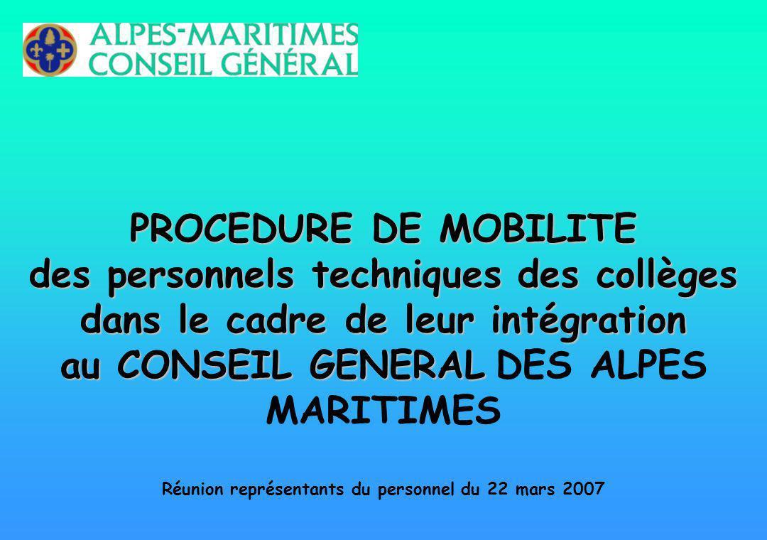 PROCEDURE DE MOBILITE des personnels techniques des collèges dans le cadre de leur intégration au CONSEIL GENERAL PROCEDURE DE MOBILITE des personnels