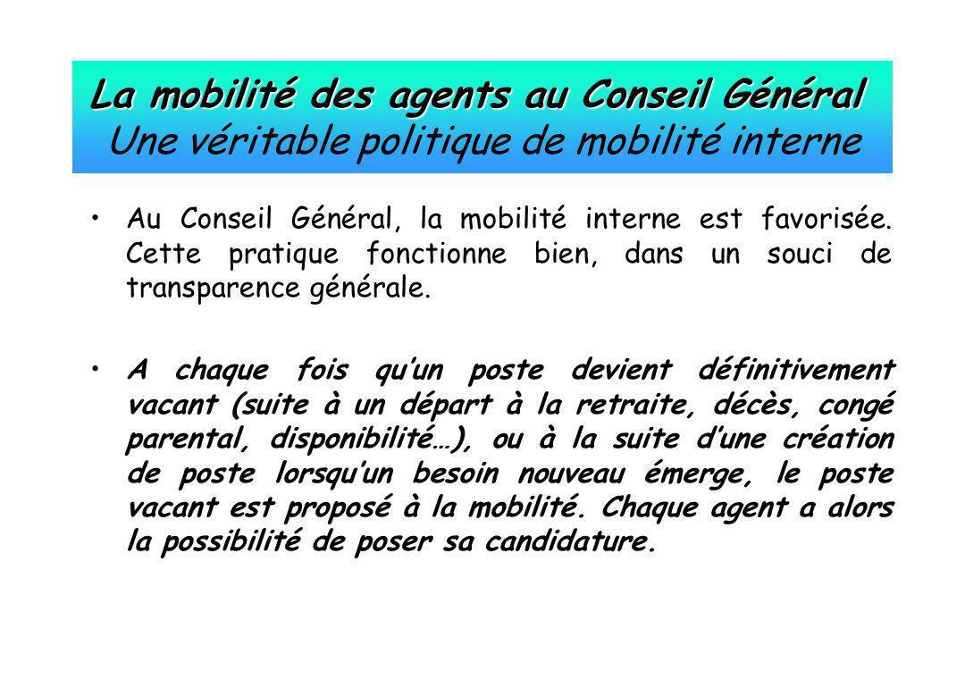 La mobilité des agents au Conseil Général La mobilité des agents au Conseil Général Une véritable politique de mobilité interne Au Conseil Général, la