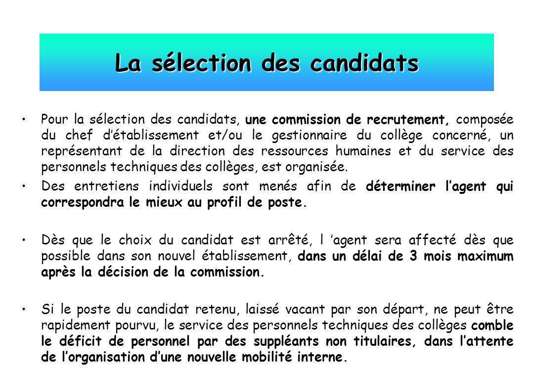 Pour la sélection des candidats, une commission de recrutement, composée du chef détablissement et/ou le gestionnaire du collège concerné, un représen