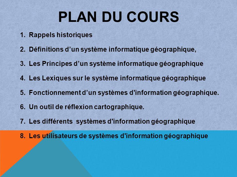 PLAN DU COURS 1. Rappels historiques 2. Définitions dun système informatique géographique, 3. Les Principes dun système informatique géographique 4. L