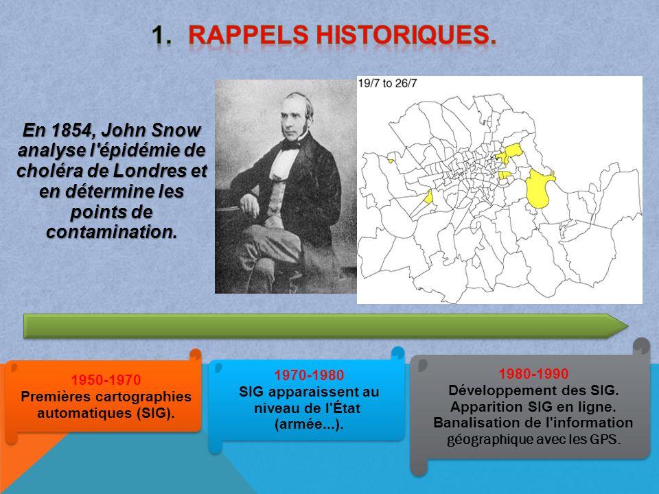 1950-1970 Premières cartographies automatiques (SIG). 1950-1970 Premières cartographies automatiques (SIG). 1970-1980 SIG apparaissent au niveau de l'