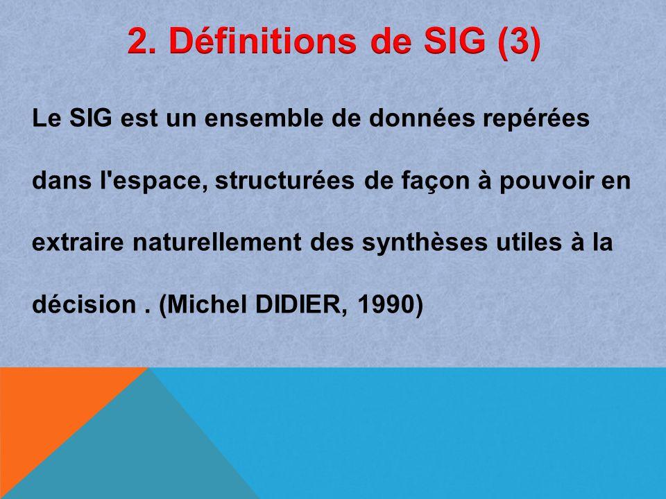 Le SIG est un ensemble de données repérées dans l'espace, structurées de façon à pouvoir en extraire naturellement des synthèses utiles à la décision.