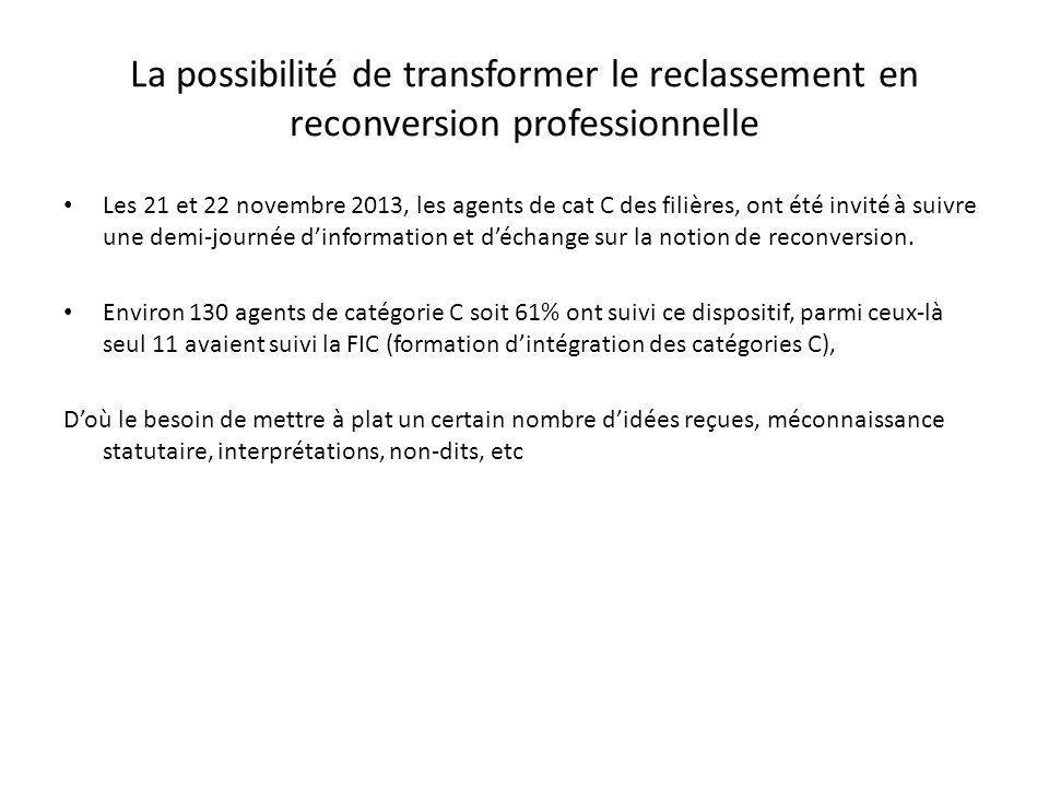Les 21 et 22 novembre 2013, les agents de cat C des filières, ont été invité à suivre une demi-journée dinformation et déchange sur la notion de reconversion.