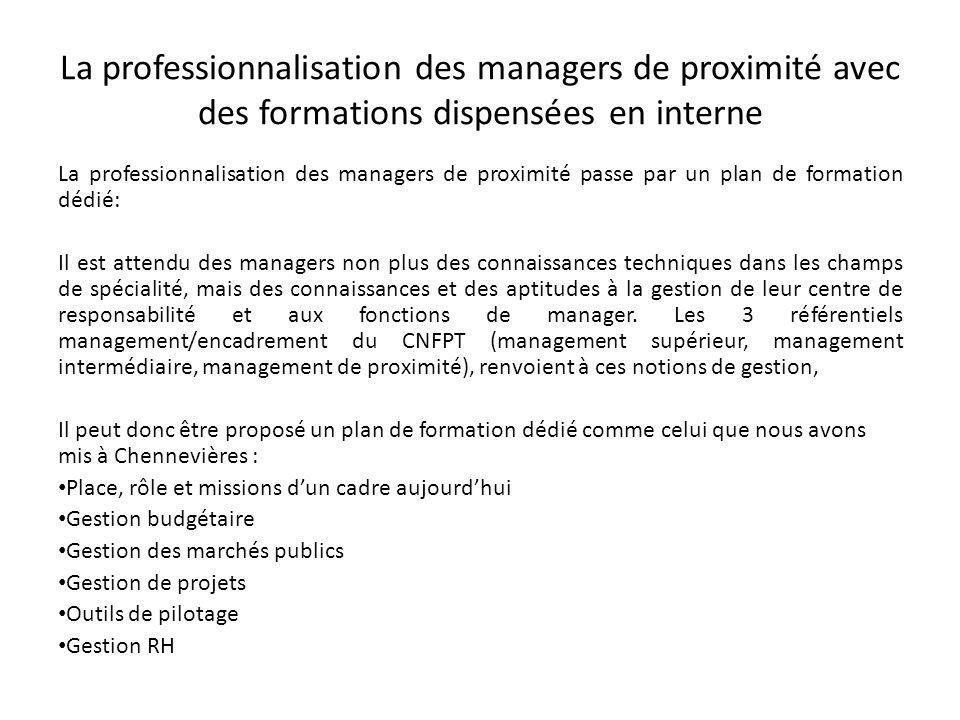 La professionnalisation des managers de proximité avec des formations dispensées en interne Concernant la spécificité de la gestion RH dans les centres de responsabilité, la gestion des hommes doit passer par une appropriation des bases statutaires.