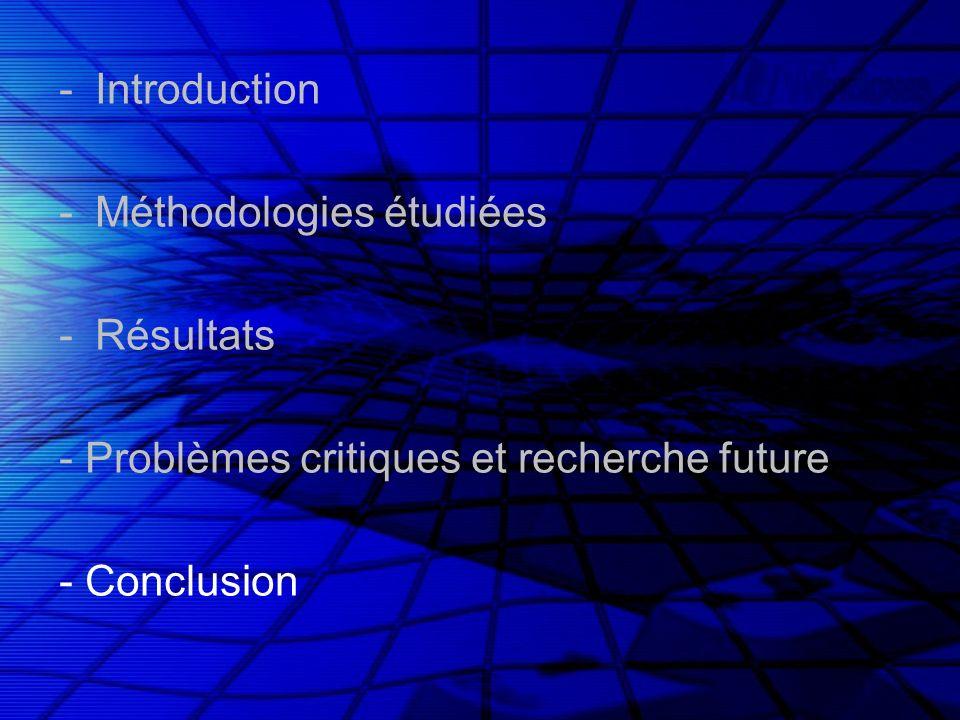 -Introduction -Méthodologies étudiées -Résultats - Problèmes critiques et recherche future - Conclusion
