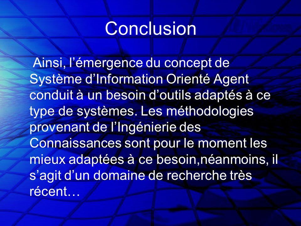 Conclusion Ainsi, lémergence du concept de Système dInformation Orienté Agent conduit à un besoin doutils adaptés à ce type de systèmes. Les méthodolo