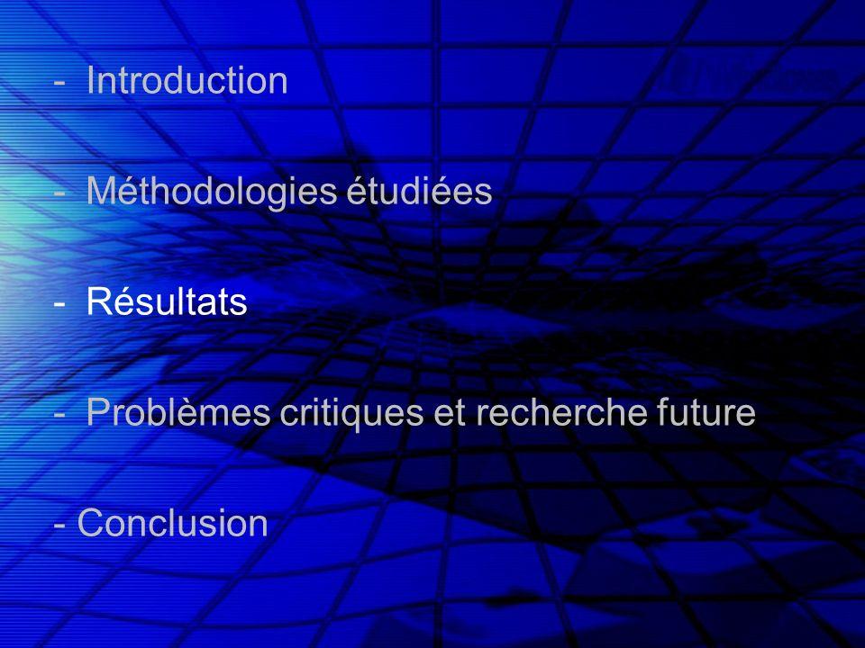 -Introduction -Méthodologies étudiées -Résultats -Problèmes critiques et recherche future - Conclusion