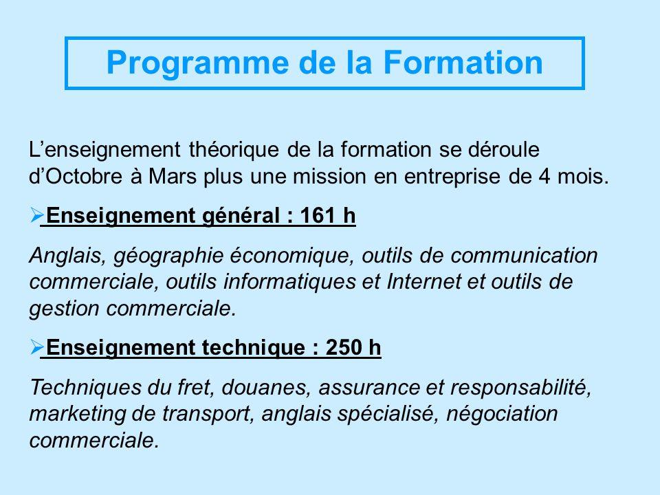Programme de la Formation Lenseignement théorique de la formation se déroule dOctobre à Mars plus une mission en entreprise de 4 mois. Enseignement gé