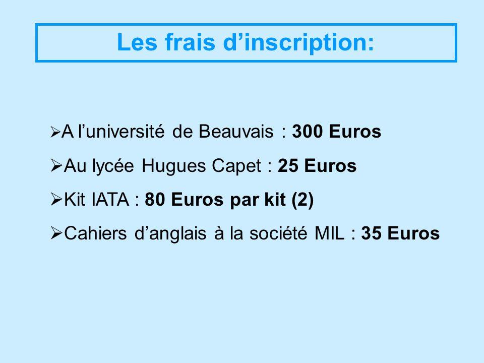 Les frais dinscription: A luniversité de Beauvais : 300 Euros Au lycée Hugues Capet : 25 Euros Kit IATA : 80 Euros par kit (2) Cahiers danglais à la société MIL : 35 Euros