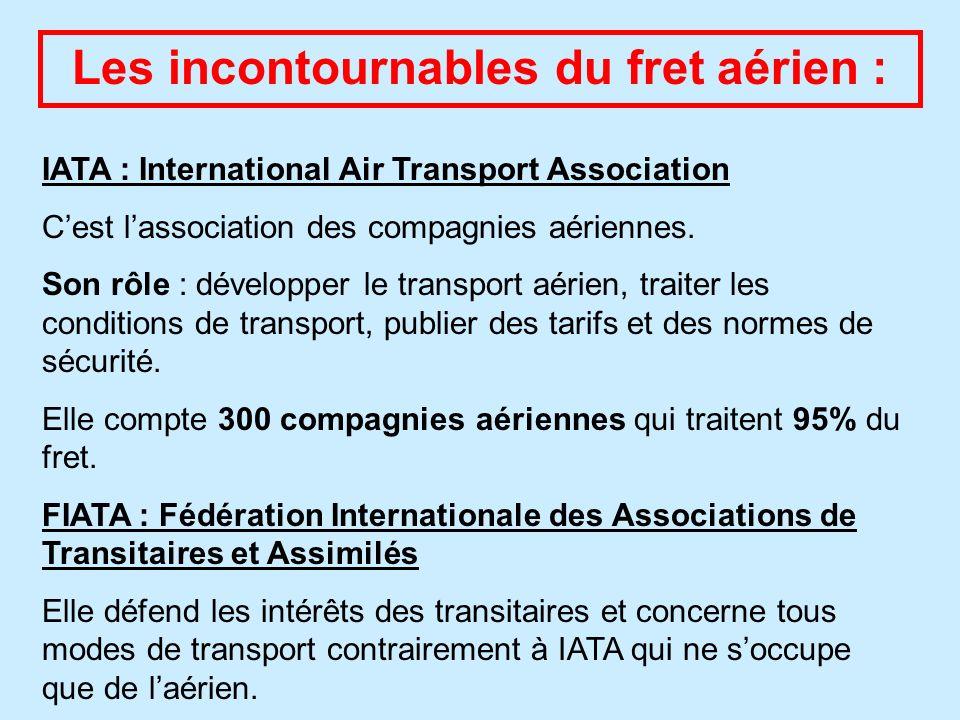 Les incontournables du fret aérien : IATA : International Air Transport Association Cest lassociation des compagnies aériennes. Son rôle : développer