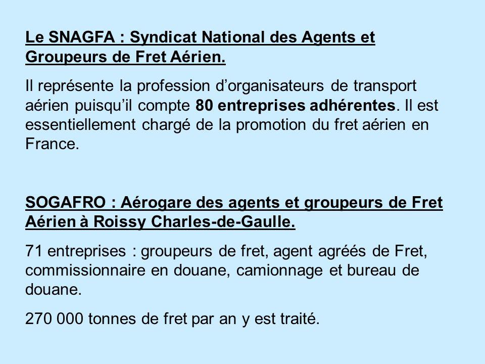 Le SNAGFA : Syndicat National des Agents et Groupeurs de Fret Aérien. Il représente la profession dorganisateurs de transport aérien puisquil compte 8