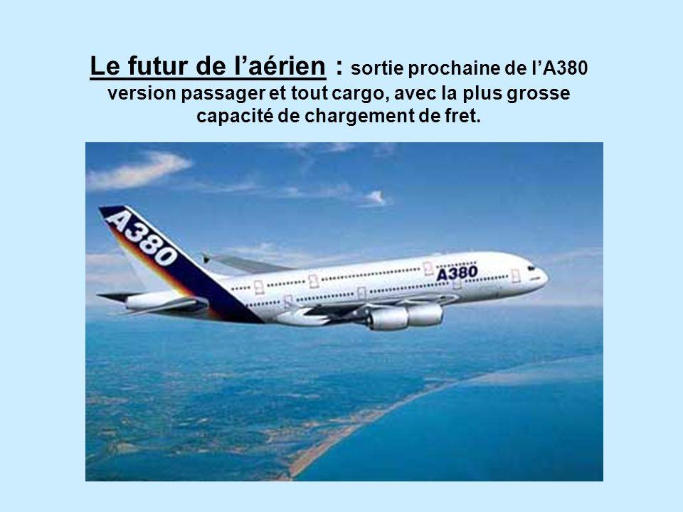 Le futur de laérien : sortie prochaine de lA380 version passager et tout cargo, avec la plus grosse capacité de chargement de fret.