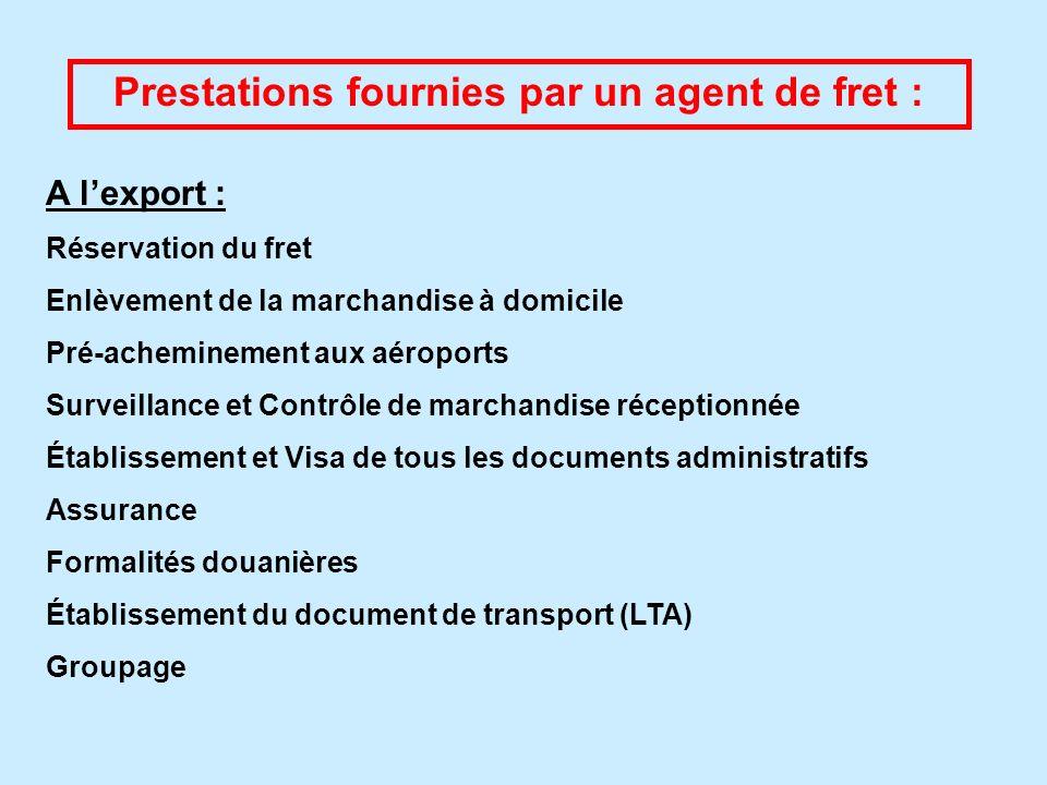 Prestations fournies par un agent de fret : A lexport : Réservation du fret Enlèvement de la marchandise à domicile Pré-acheminement aux aéroports Sur
