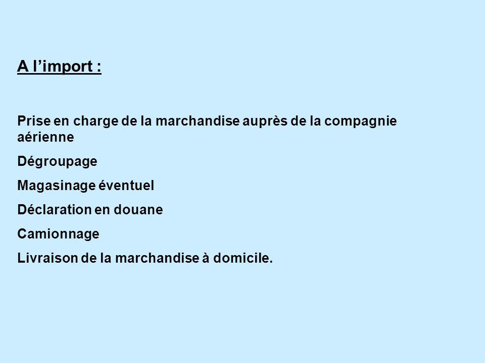 A limport : Prise en charge de la marchandise auprès de la compagnie aérienne Dégroupage Magasinage éventuel Déclaration en douane Camionnage Livraison de la marchandise à domicile.