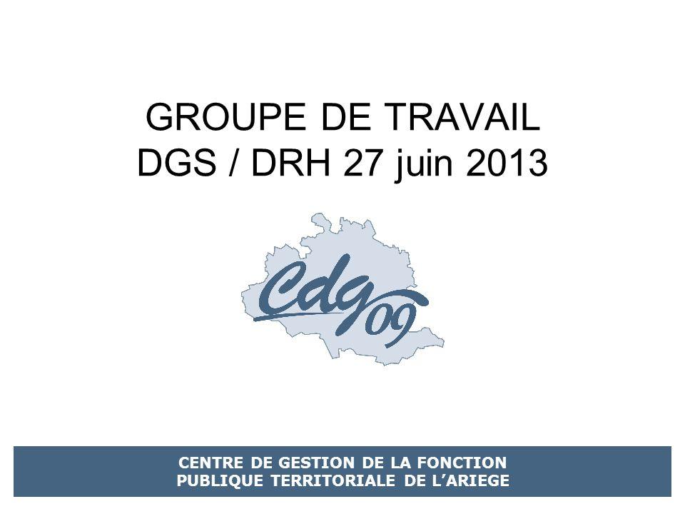 GROUPE DE TRAVAIL DGS / DRH 27 juin 2013 CENTRE DE GESTION DE LA FONCTION PUBLIQUE TERRITORIALE DE LARIEGE