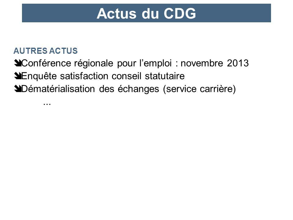 Actus du CDG AUTRES ACTUS Conférence régionale pour lemploi : novembre 2013 Enquête satisfaction conseil statutaire Dématérialisation des échanges (service carrière)...