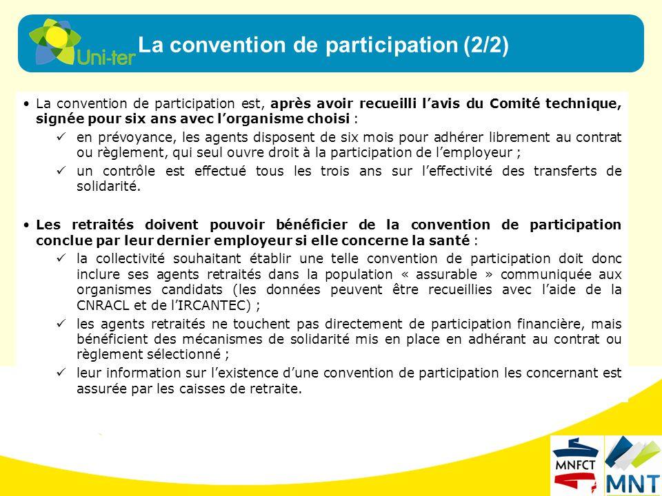 La convention de participation est, après avoir recueilli lavis du Comité technique, signée pour six ans avec lorganisme choisi : en prévoyance, les a