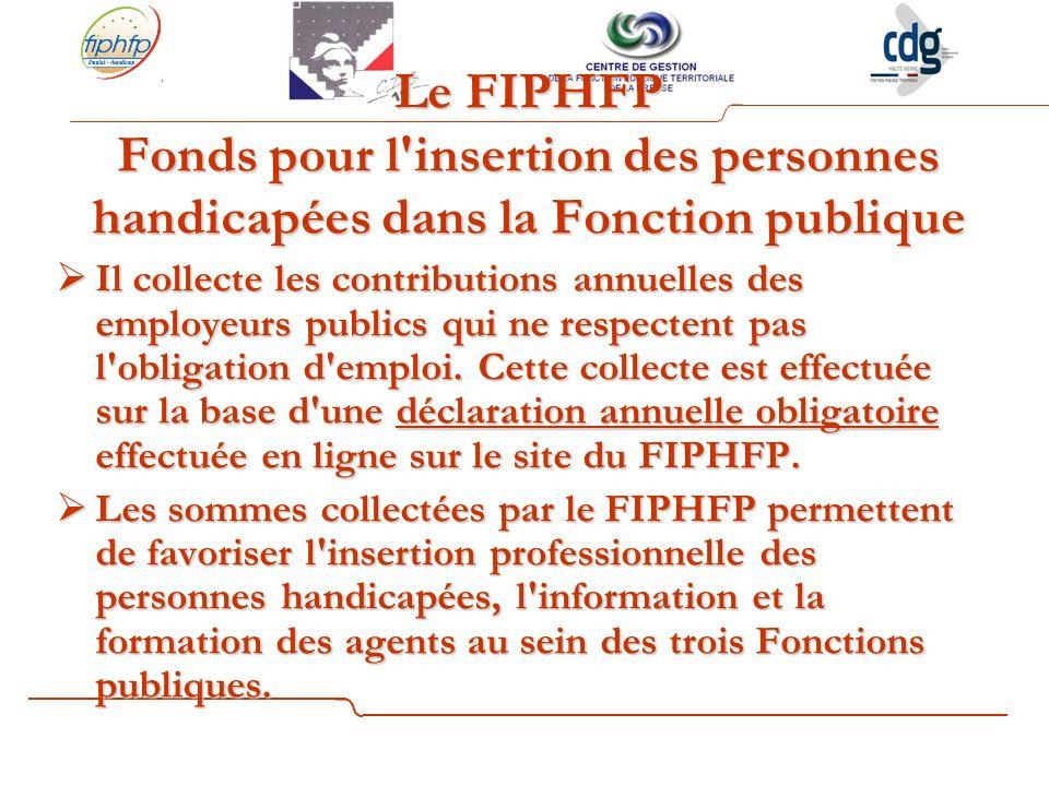 Le FIPHFP Fonds pour l insertion des personnes handicapées dans la Fonction publique Il collecte les contributions annuelles des employeurs publics qui ne respectent pas l obligation d emploi.