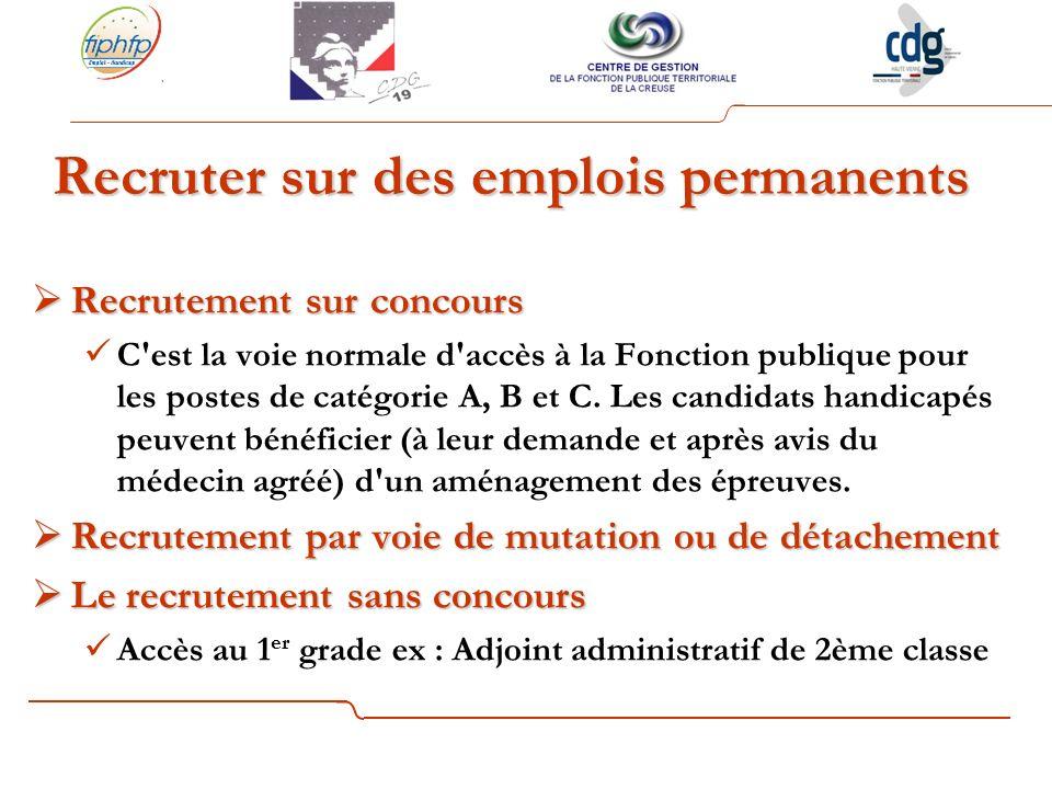 Recrutement sur concours Recrutement sur concours C est la voie normale d accès à la Fonction publique pour les postes de catégorie A, B et C.