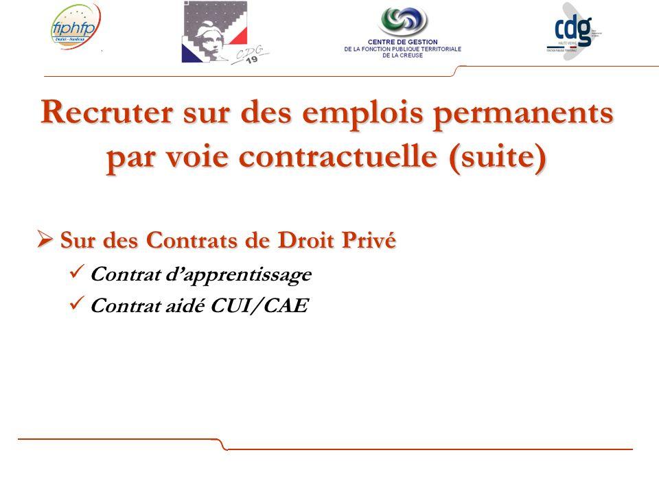 Recruter sur des emplois permanents par voie contractuelle (suite) Sur des Contrats de Droit Privé Sur des Contrats de Droit Privé Contrat dapprentissage Contrat aidé CUI/CAE