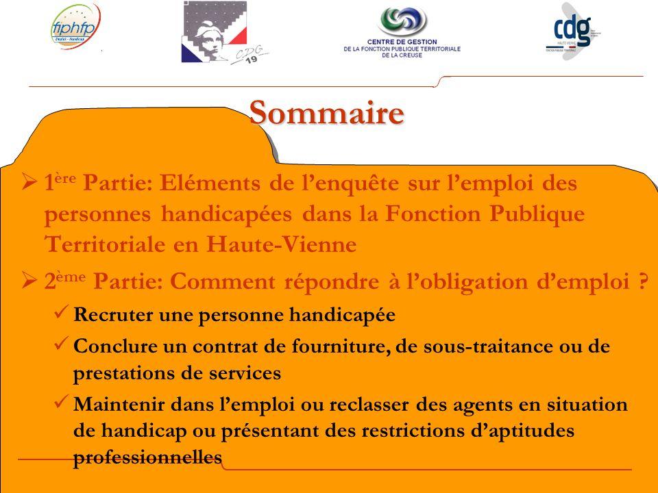 Sommaire 1 ère Partie: Eléments de lenquête sur lemploi des personnes handicapées dans la Fonction Publique Territoriale en Haute-Vienne 2 ème Partie: Comment répondre à lobligation demploi .