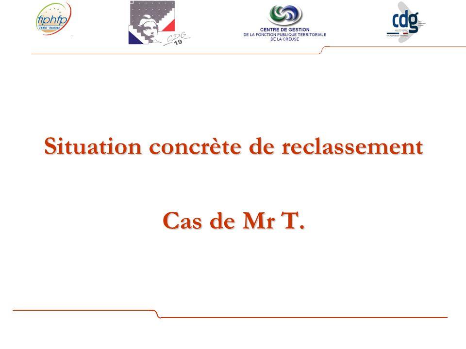 Situation concrète de reclassement Cas de Mr T.