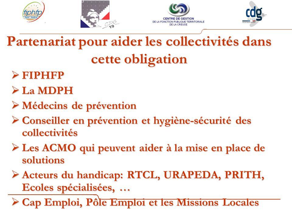 Partenariat pour aider les collectivités dans cette obligation FIPHFP FIPHFP La MDPH La MDPH Médecins de prévention Médecins de prévention Conseiller en prévention et hygiène-sécurité des collectivités Conseiller en prévention et hygiène-sécurité des collectivités Les ACMO qui peuvent aider à la mise en place de solutions Les ACMO qui peuvent aider à la mise en place de solutions Acteurs du handicap: RTCL, URAPEDA, PRITH, Ecoles spécialisées, … Acteurs du handicap: RTCL, URAPEDA, PRITH, Ecoles spécialisées, … Cap Emploi, Pôle Emploi et les Missions Locales Cap Emploi, Pôle Emploi et les Missions Locales