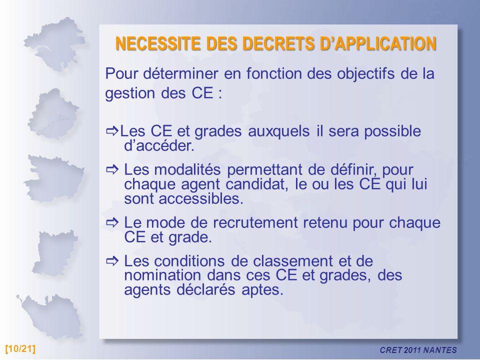 CRET 2011 NANTES NECESSITE DES DECRETS DAPPLICATION Pour déterminer en fonction des objectifs de la gestion des CE : Les CE et grades auxquels il sera possible daccéder.
