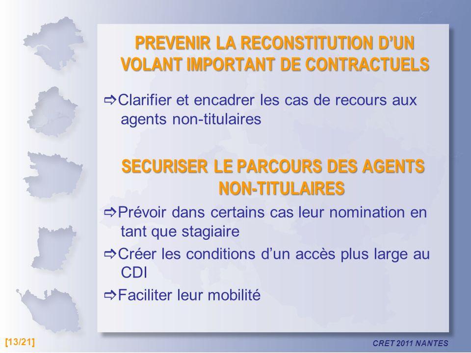 CRET 2011 NANTES PREVENIR LA RECONSTITUTION DUN VOLANT IMPORTANT DE CONTRACTUELS Clarifier et encadrer les cas de recours aux agents non-titulaires SE