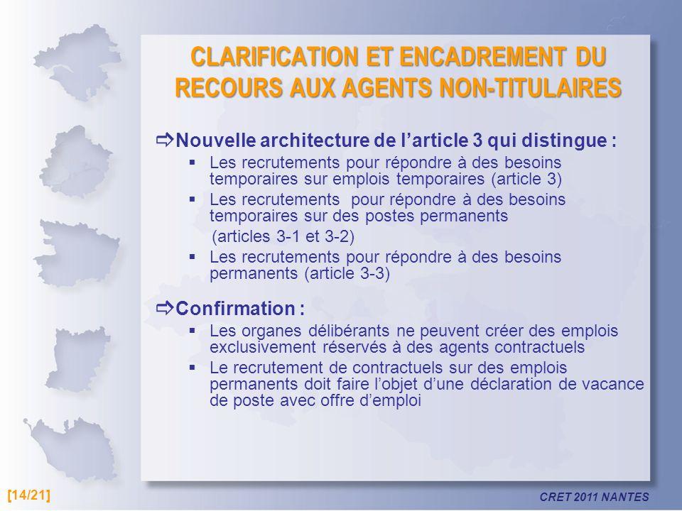 CRET 2011 NANTES CLARIFICATION ET ENCADREMENT DU RECOURS AUX AGENTS NON-TITULAIRES Nouvelle architecture de larticle 3 qui distingue : Les recrutement