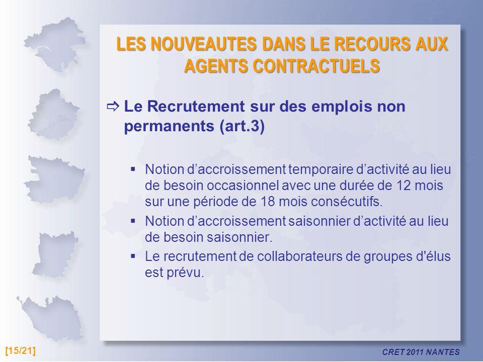 CRET 2011 NANTES LES NOUVEAUTES DANS LE RECOURS AUX AGENTS CONTRACTUELS Le Recrutement sur des emplois non permanents (art.3) Notion daccroissement te