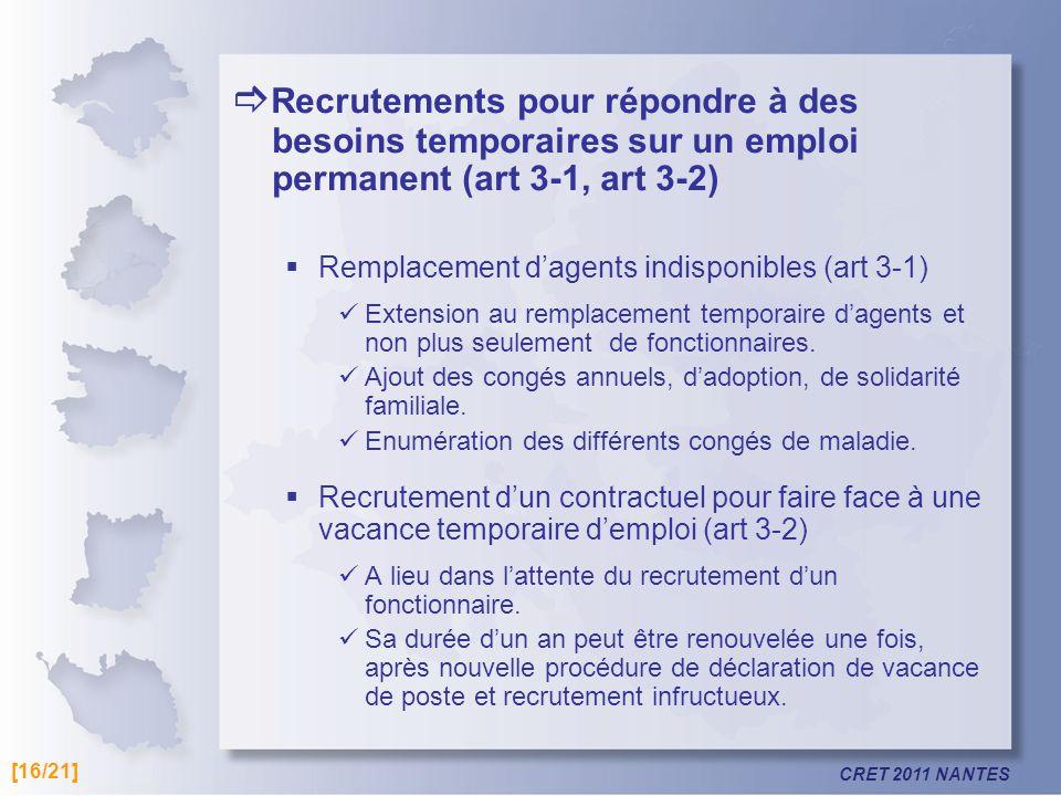 CRET 2011 NANTES Recrutements pour répondre à des besoins temporaires sur un emploi permanent (art 3-1, art 3-2) Remplacement dagents indisponibles (a