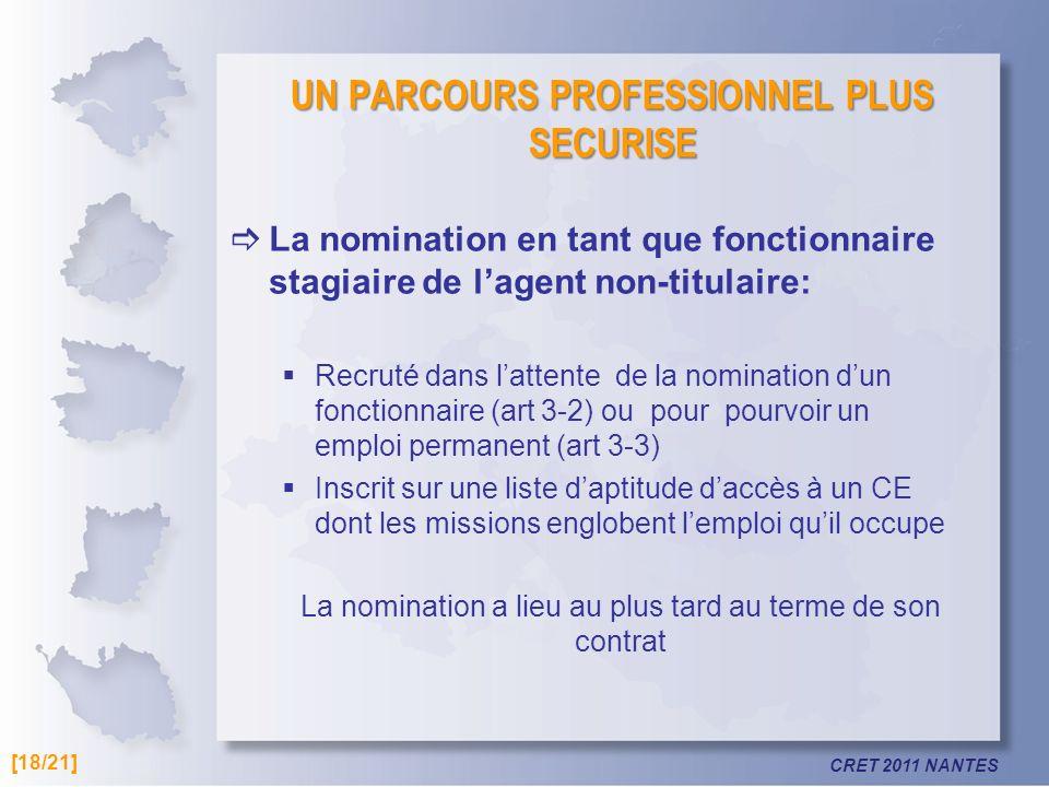 CRET 2011 NANTES UN PARCOURS PROFESSIONNEL PLUS SECURISE La nomination en tant que fonctionnaire stagiaire de lagent non-titulaire: Recruté dans latte