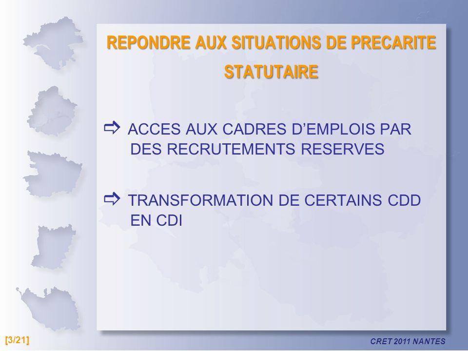 CRET 2011 NANTES REPONDRE AUX SITUATIONS DE PRECARITE STATUTAIRE ACCES AUX CADRES DEMPLOIS PAR DES RECRUTEMENTS RESERVES TRANSFORMATION DE CERTAINS CDD EN CDI [3/21]
