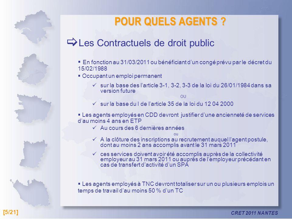 CRET 2011 NANTES POUR QUELS AGENTS ? Les Contractuels de droit public En fonction au 31/03/2011 ou bénéficiant dun congé prévu par le décret du 15/02/