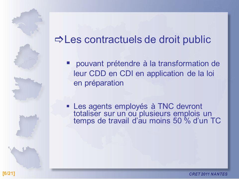 CRET 2011 NANTES Les contractuels de droit public pouvant prétendre à la transformation de leur CDD en CDI en application de la loi en préparation Les