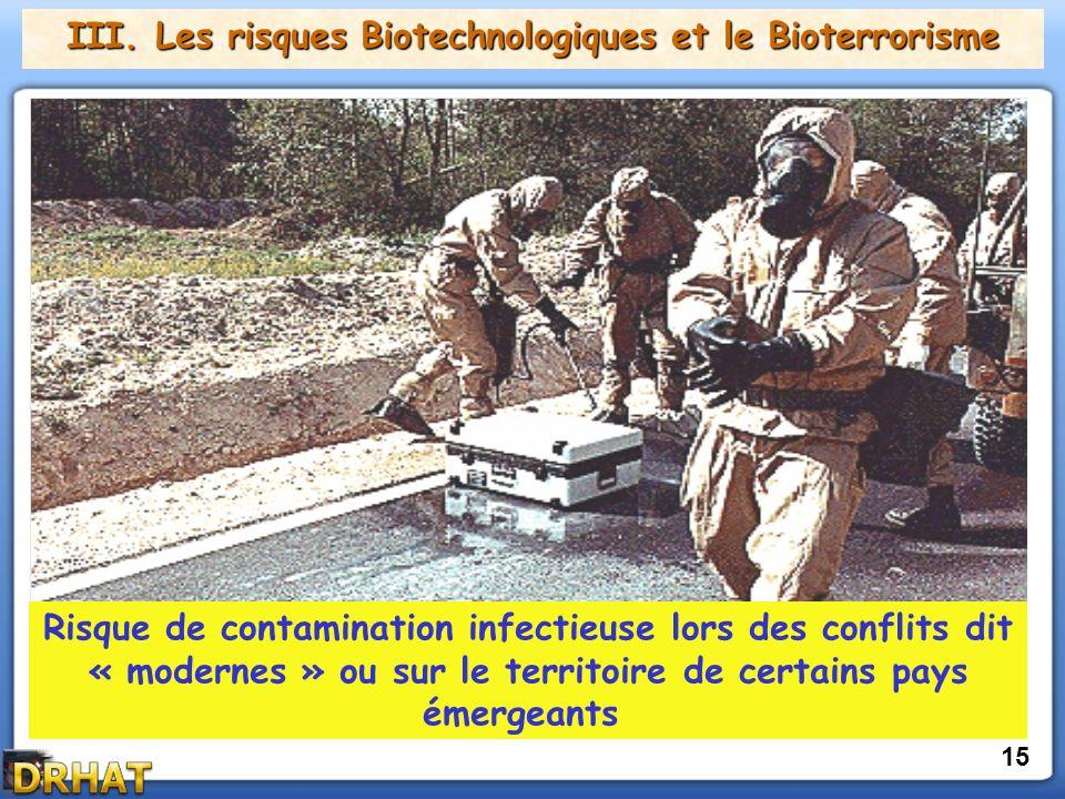 III. Les risques Biotechnologiques et le Bioterrorisme 15 Risque de contamination infectieuse lors des conflits dit « modernes » ou sur le territoire