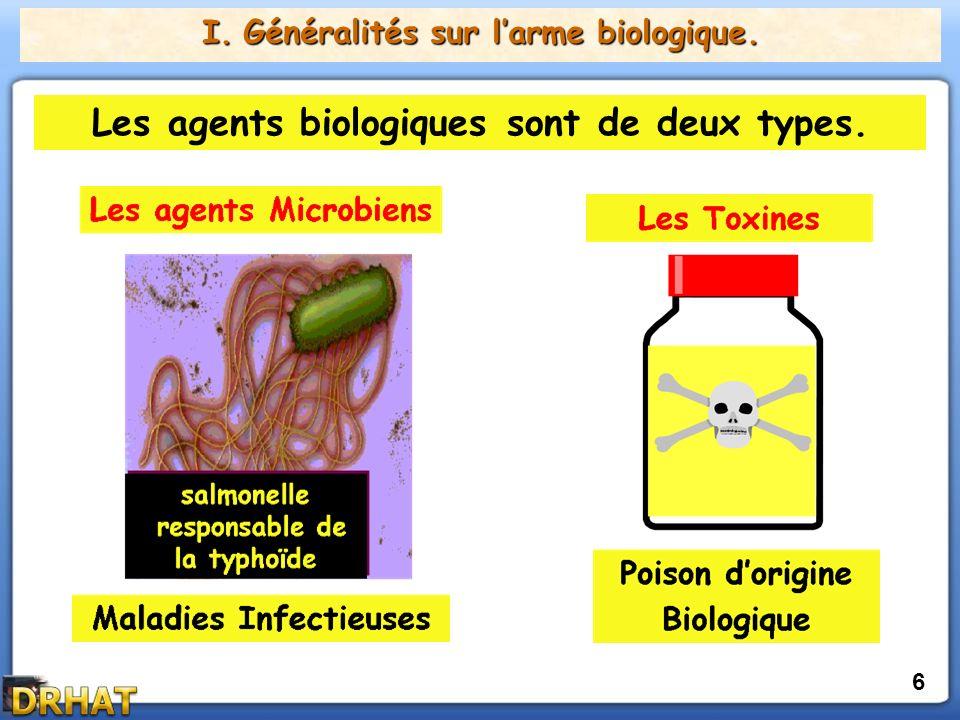 I.Généralités sur larme biologique. Il existe deux sortes dagents biologiques.