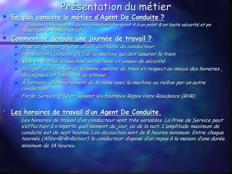 Présentation du métier En quoi consiste le métier dAgent De Conduite .