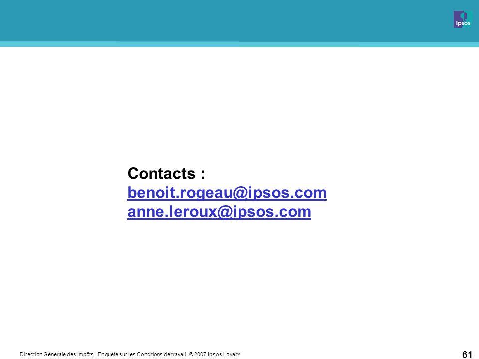 Direction Générale des Impôts - Enquête sur les Conditions de travail © 2007 Ipsos Loyalty 61 Contacts : benoit.rogeau@ipsos.com anne.leroux@ipsos.com