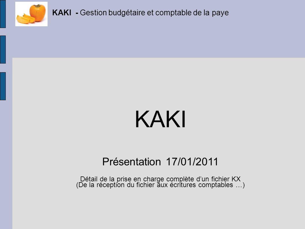 KAKI - Gestion budgétaire et comptable de la paye KAKI Présentation 17/01/2011 Détail de la prise en charge complète dun fichier KX (De la réception d