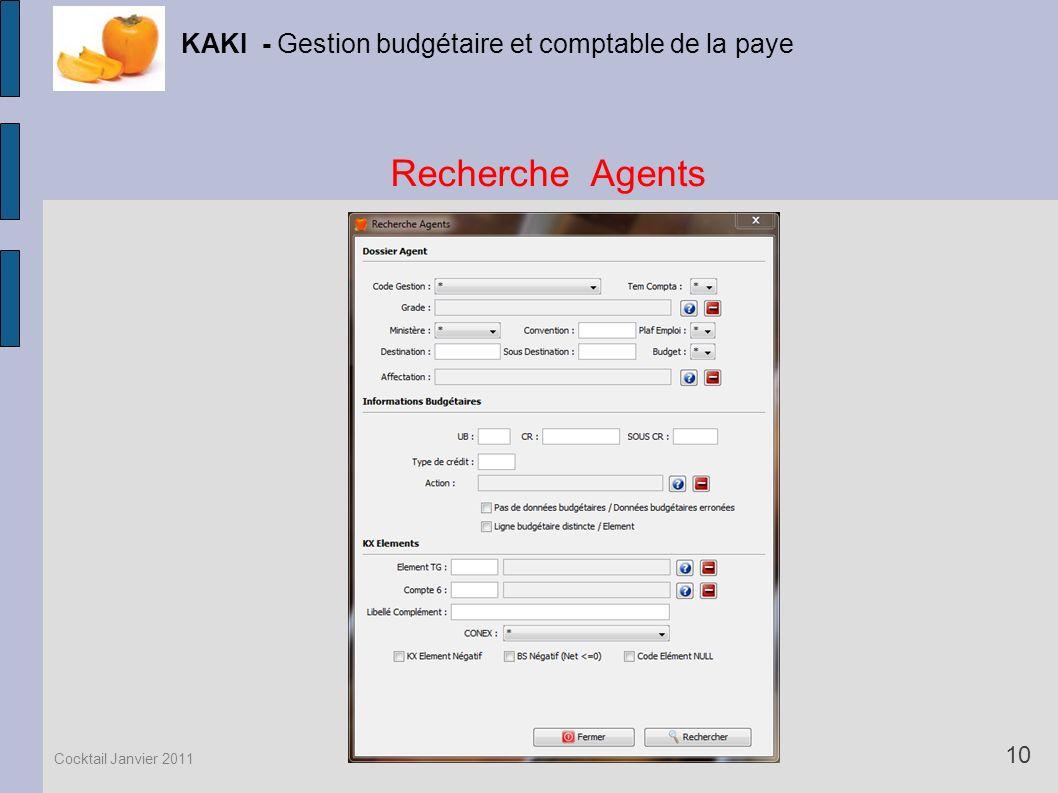 Recherche Agents KAKI - Gestion budgétaire et comptable de la paye 10 Cocktail Janvier 2011