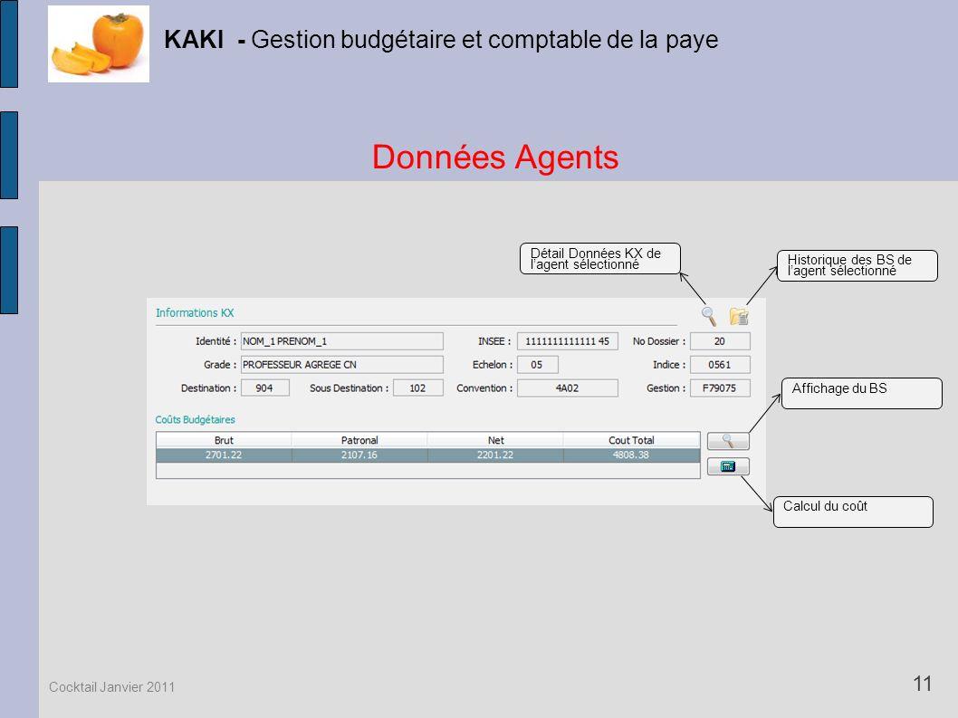 Données Agents KAKI - Gestion budgétaire et comptable de la paye 11 Cocktail Janvier 2011 Historique des BS de lagent sélectionné Détail Données KX de