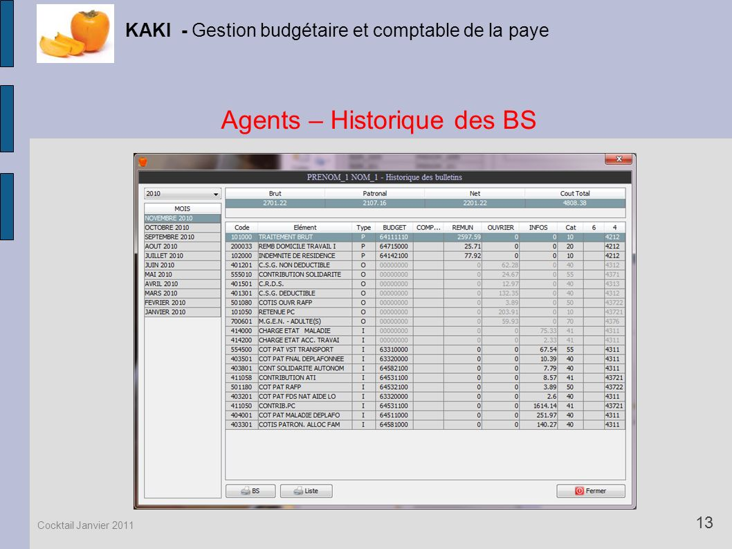 Agents – Historique des BS KAKI - Gestion budgétaire et comptable de la paye 13 Cocktail Janvier 2011